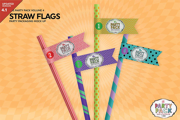 Straw Flag Mockup