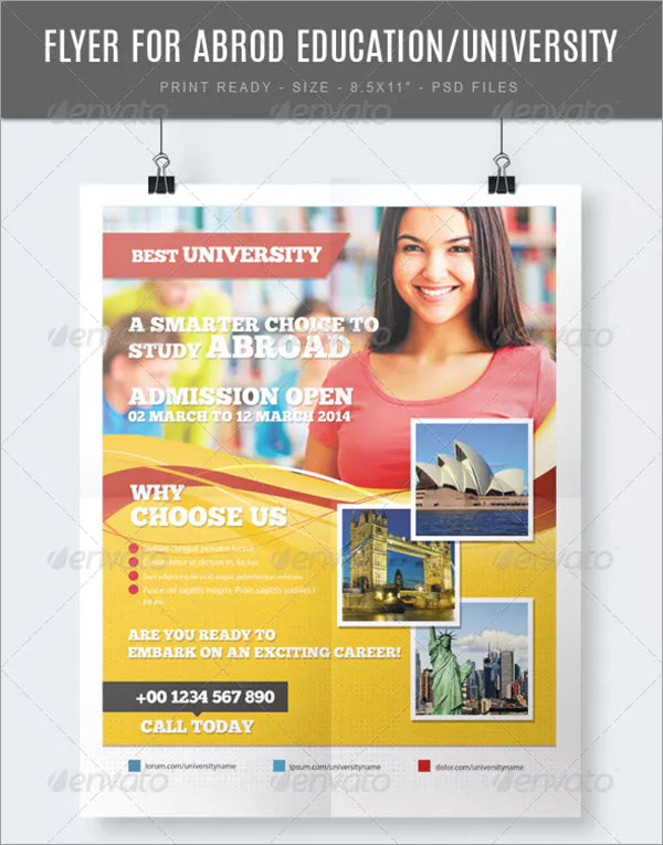 Study Abroad University and College Flyer Template