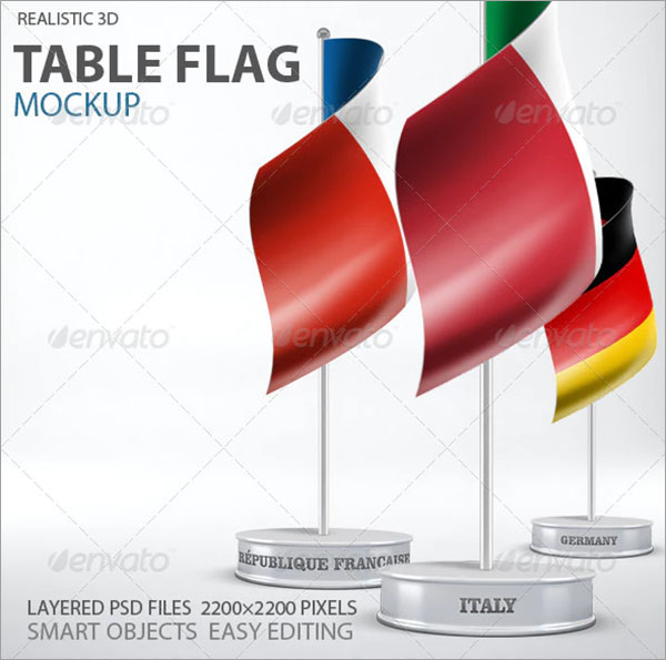Table PSD Flag Mockup