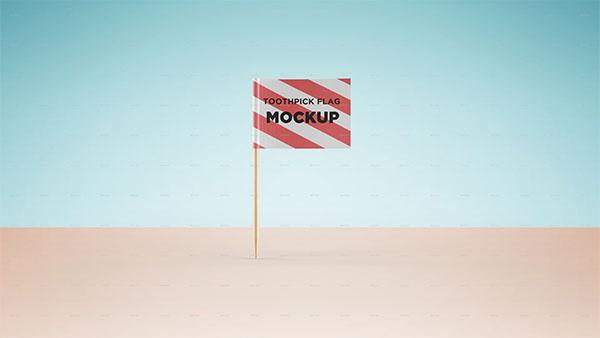 Toothpick Flag Mockup