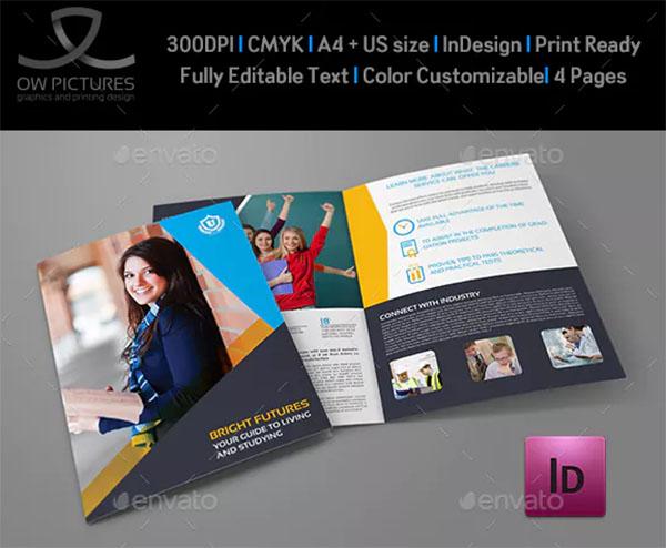 University College Bi-Fold Brochure Template