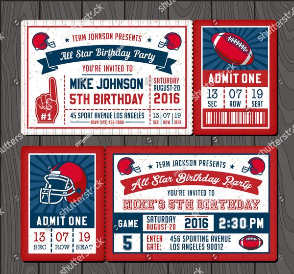 Vector Illustrations for Invitation Tickets for Football