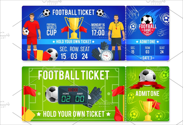 Vector Tickets Template for soccer Football