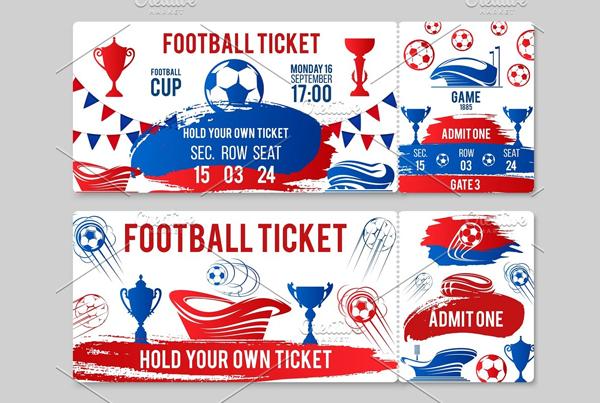 Vector Tickets of Football Soccer