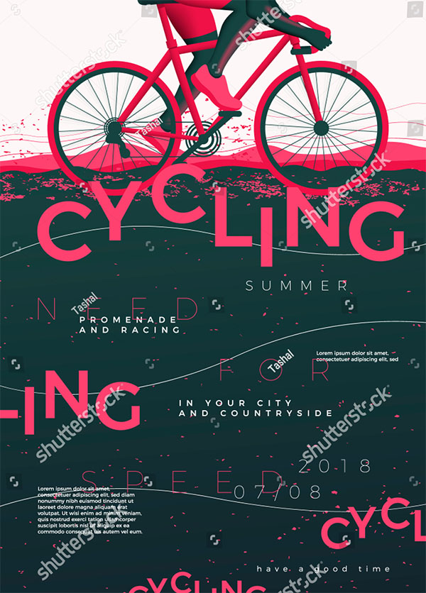 Vector Typographic Cycling Flyer