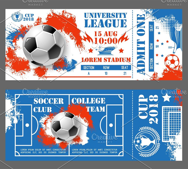 Vector Tickets of Football Soccer World Cup