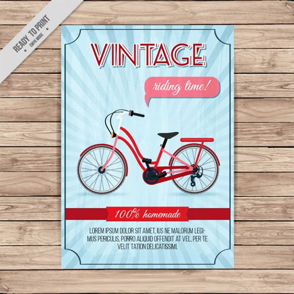 Vintage Free PSD Bicycle Sports Flyer