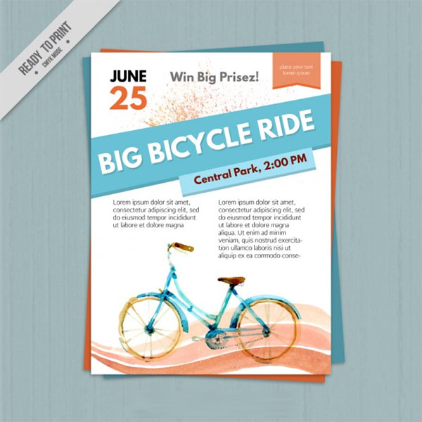 Watercolor Free PSD Bicyle Flyer Template