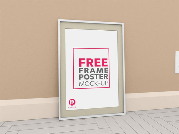 Big Poster Free Frame Leaning Against Wall Mockup