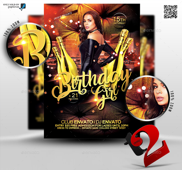 Birthday Girl Flyer Template