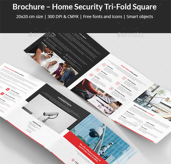 Brochure Home Security Tri-Fold Square