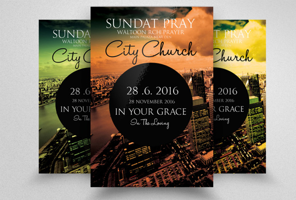 City Revival Church Flyer Printable Template