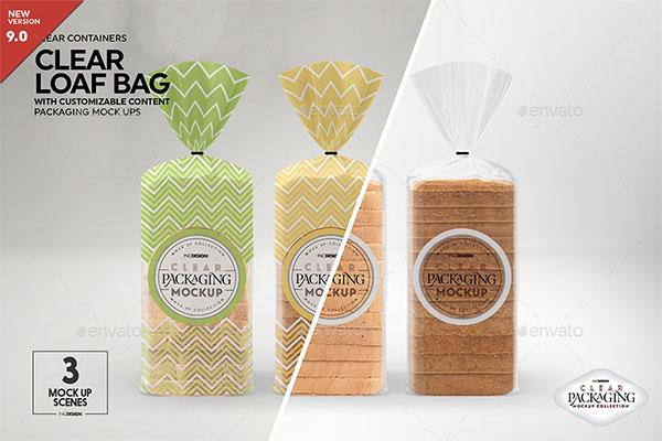Clear Loaf Bag Packaging Mockup