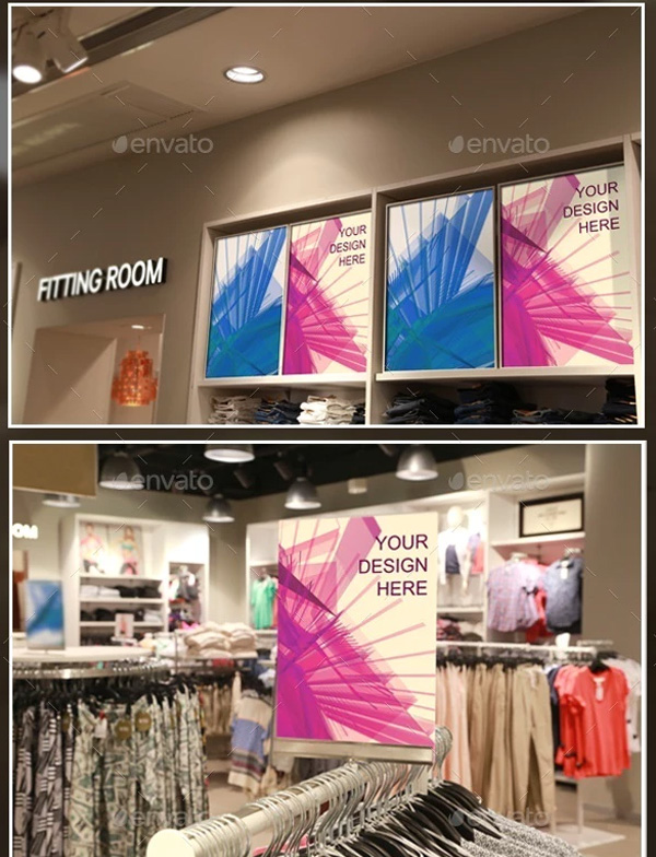 Clothing Store Posters and Tags Mockups