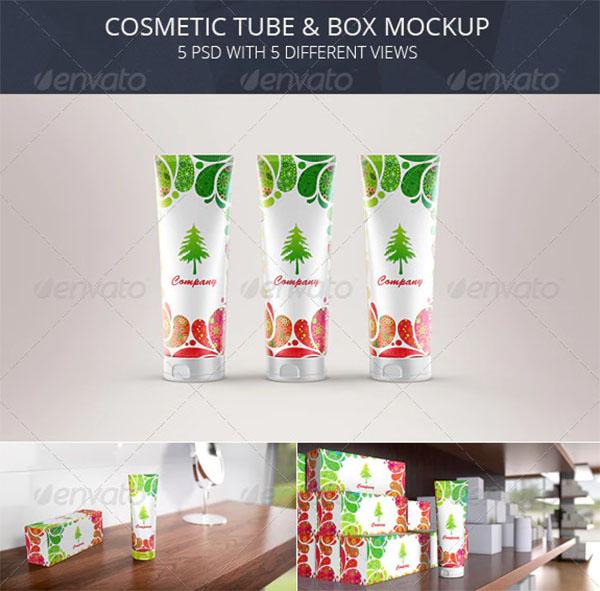 Cosmetic Tube Toothpaste & Box Mockup
