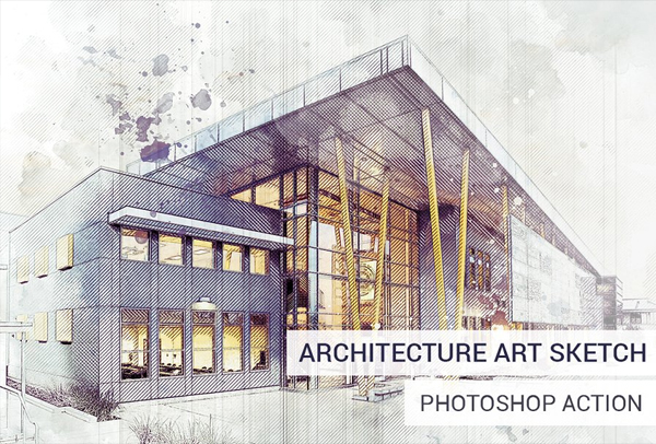 Digital Architecture Sketch Photoshop Action