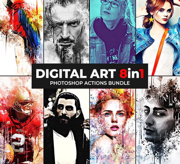 Digital Art Photoshop Actions Bundle