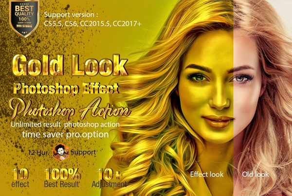 Digital Gold Look Photoshop Effect