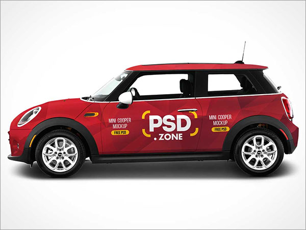 Door Mini Cooper Car Branding Free PSD Mockup