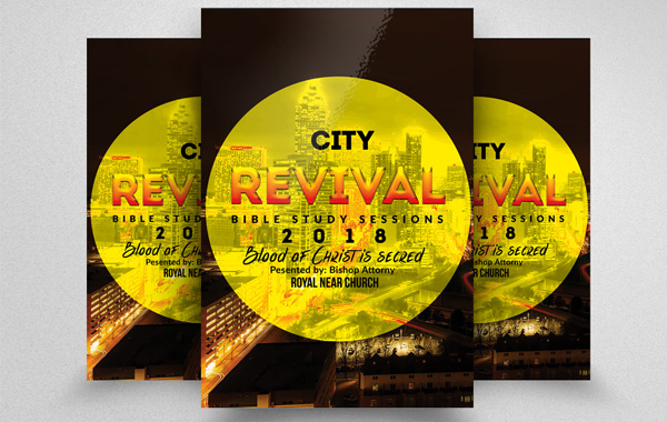Editable City Revival Church Flyer Template