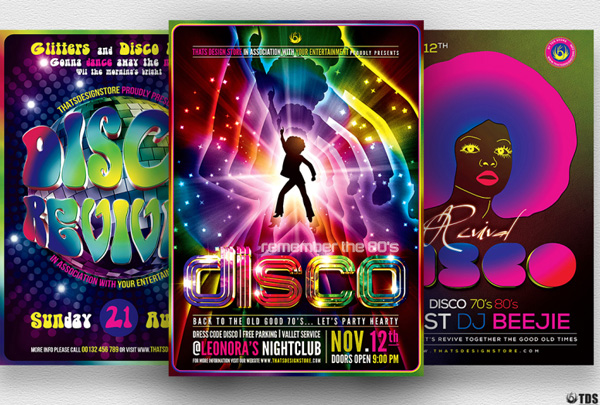 Editable Disco Music Flyers Bundle