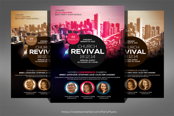 Editable Revival Church Flyer