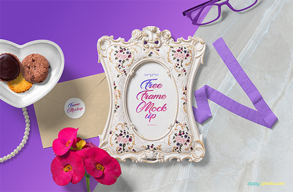 Free Beautiful Picture Frame Mockup in PSD