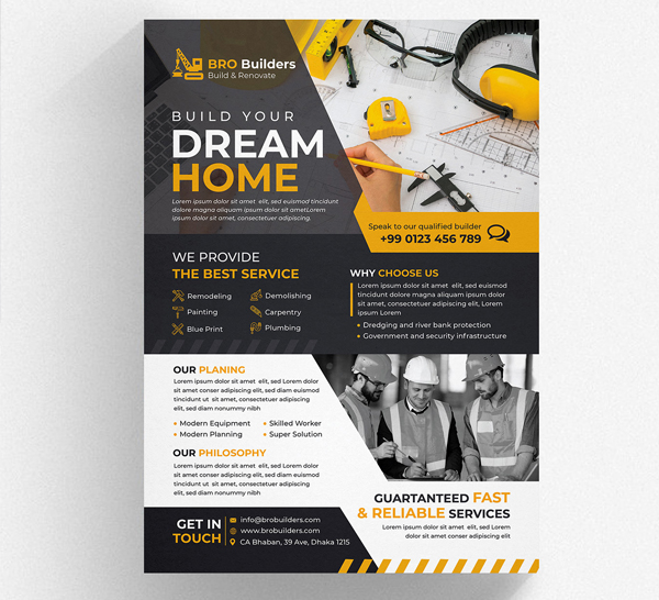 Free Creative Construction Flyer Template