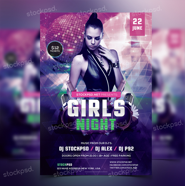 Free Girls Night Party PSD Flyer Template
