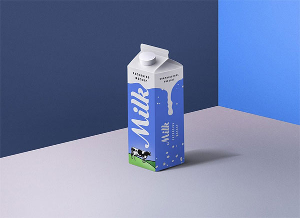 Free Milk Packaging Box Mockup