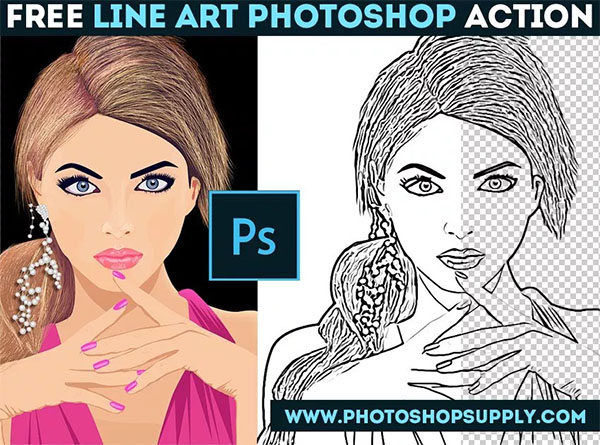 Free PSD Lines Photoshop Actions