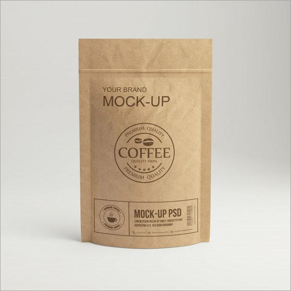 Free PSD Paper Coffee Bag Packaging Mockup