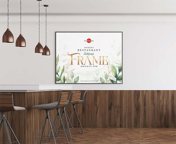 Free Restaurant Interior Frame Mockup