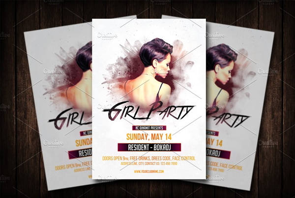 Girl Party Flyer Design Template