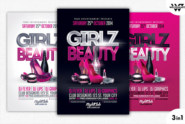 Girls Beauty Flyer Template