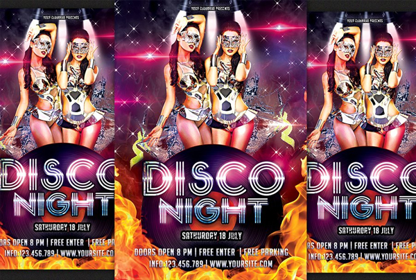 Girls Disco Party Flyer Template
