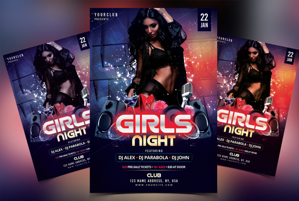 Girls Night DJ PSD Flyer Template