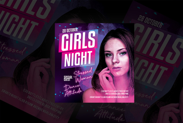 Girls Night Party Flyer Editable Design Template
