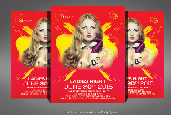 Girls Night Party Flyer Editable Template
