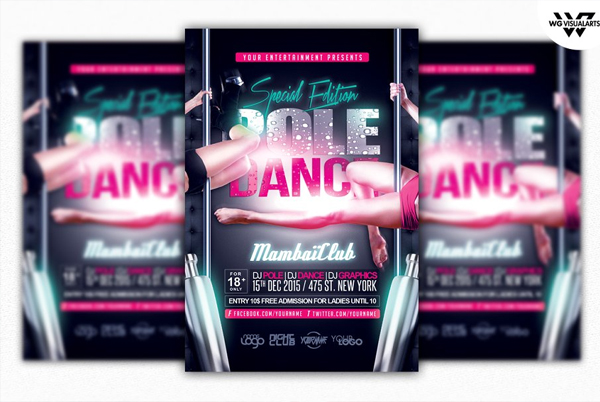 Girls Pole Dance Flyer Template