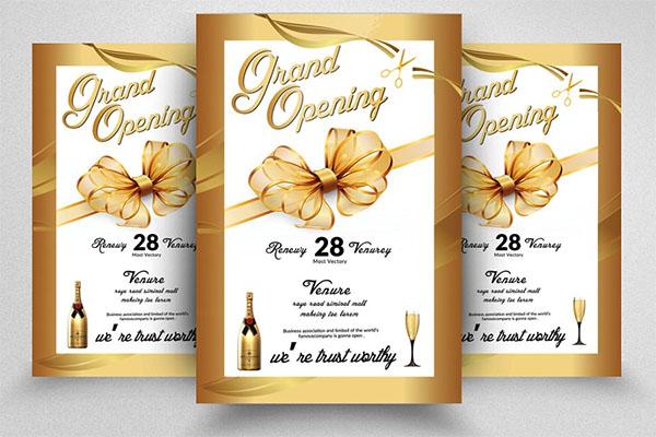 Golden Grand Opening Flyer Template