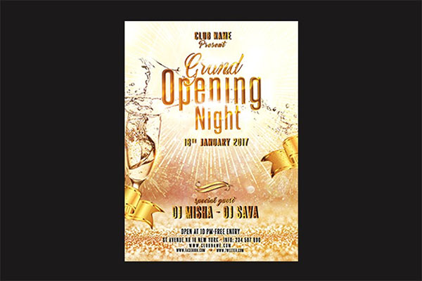 Grand Opening Flyer PSD Editable