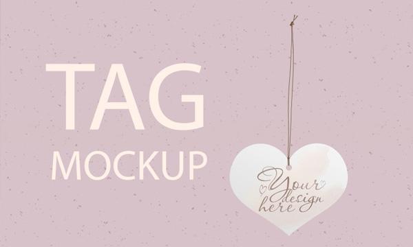 Heart Wedding Tag Mockup