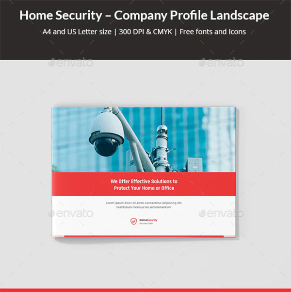 Home Security Company Profile Landscape Template