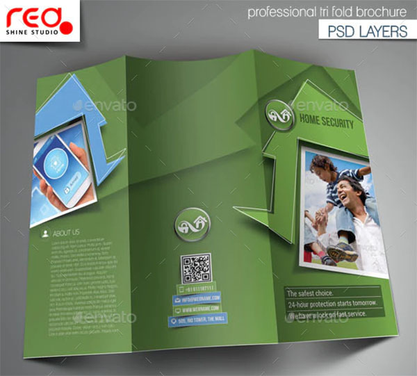 Home Security Trifold Brochure PSD Template