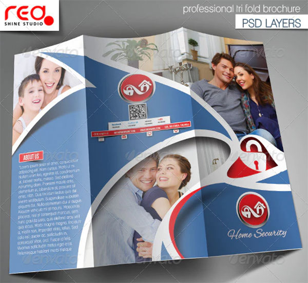 Home Security Trifold Brochure Template