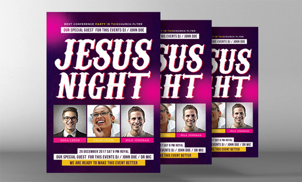 Jesus Night of Worship Flyer Psd Template
