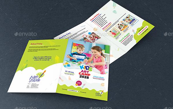 Kids Art Camp Bifold Brochure Template