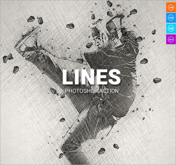 Lines Photoshop ABR, ATN, PAT Action