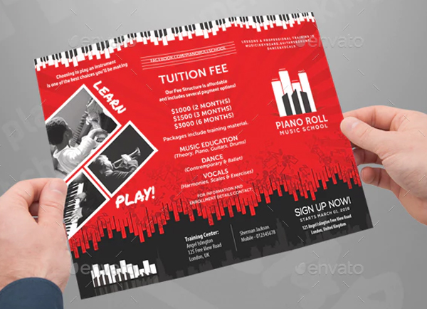 Music College & School Creative Art Brochure Templates